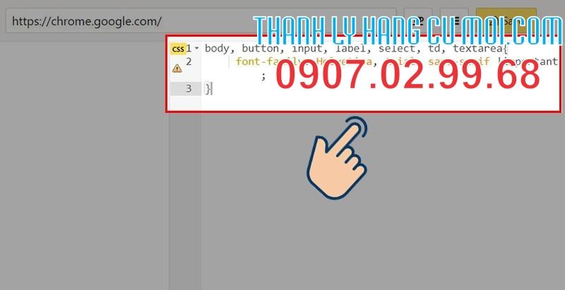 tìm khung CSS và paste (dán) đoạn css